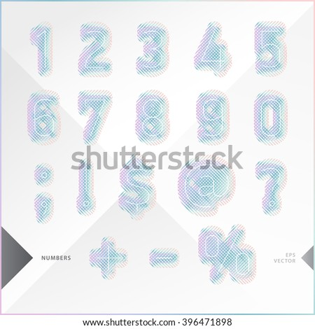 Pastel numbers similar with fabric texture with hints colorful gradient. Best to use for design, business cards, label, greeting cards, posters and infographic. Vector illustration.