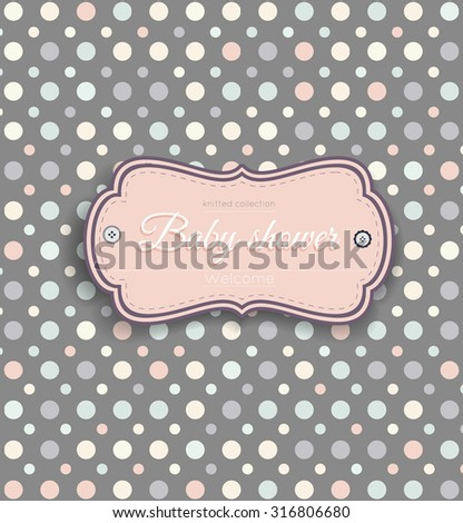 Pastel pattern with multicolored retro circles, baby shower