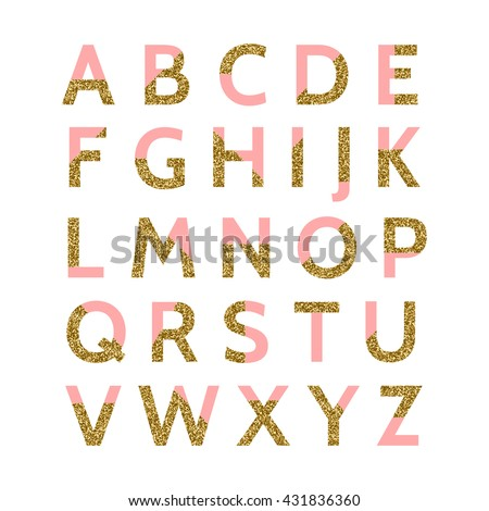 Pastel pink and gold glitter decorative letters isolated on white background. Perfect for wedding invitations, bridal showers, birthday cards, etc. - stock vector