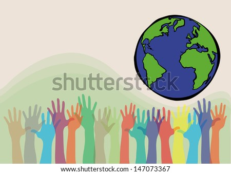pastel tone of many hands reaching to save the earth