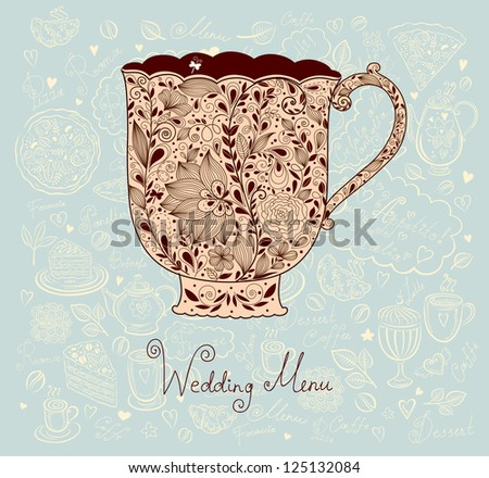 Pastel vintage floral card with beautiful cup - stock vector