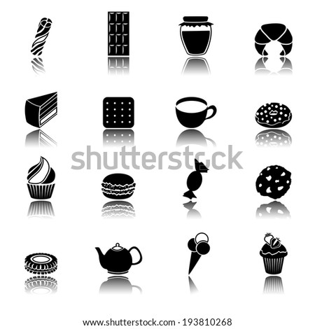 Pastry and sweets black icons set of cup cake ice cream donut isolated vector illustration - stock vector