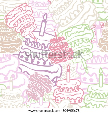Pastry, cake, seamless background, vector illustration - stock vector