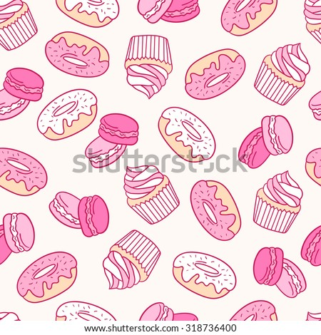 Pastry hand drawn seamless pattern. Doodle background collection confections. Icon set vector - stock vector