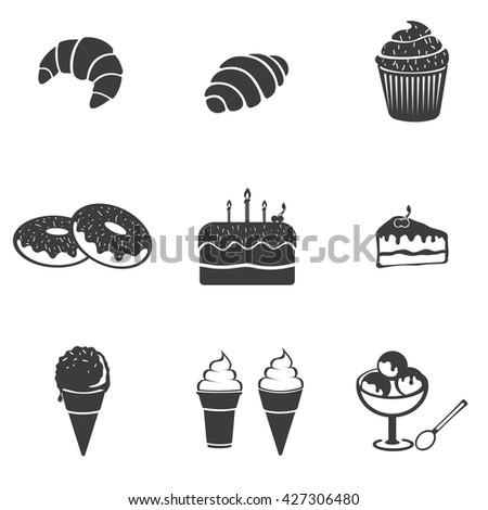 Pastry set icon. Pastry set Vector icons isolated on white background. Flat vector illustration in black. EPS 10 - stock vector