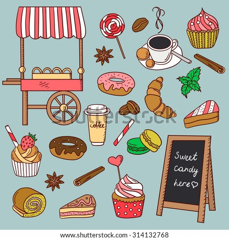 Pastry shop hand drawn icon set. Doodle collection confection - stock vector