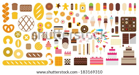 Pastry & Sweet icon set - stock vector