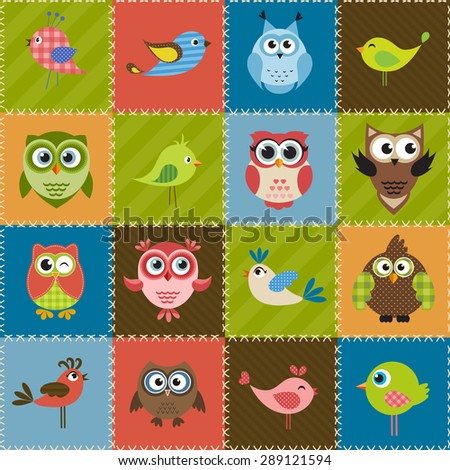 Patchwork background with birds and owls - stock vector