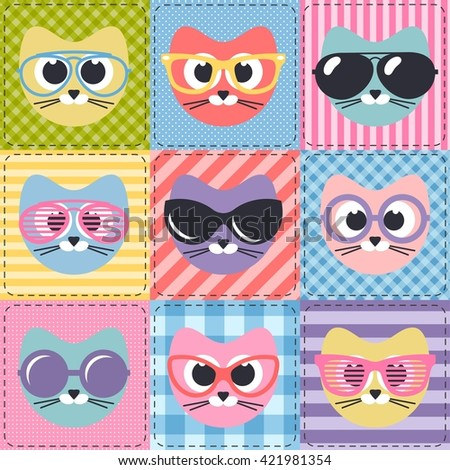 patchwork background with cats and sunglasses - stock vector