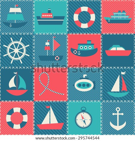 Patchwork background with sea transport - stock vector