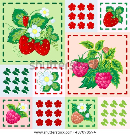 Patchwork background with strawberries and raspberries. Seamless vector pattern. Bright red green pink - stock vector