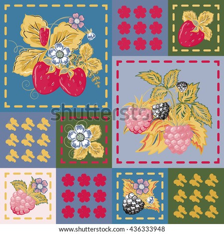 Patchwork background with strawberries and raspberries. Seamless vector pattern. Dark pink yellow green backdrop. - stock vector