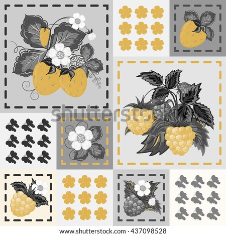 Patchwork background with strawberries and raspberries. Seamless vector pattern. Golden gray backdrop. - stock vector