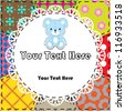 Patchwork background with teddy bear - stock vector