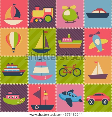 Patchwork background with transport - stock vector