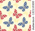 Patchwork buterflies seamless pattern. Vector background. - stock photo
