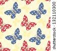 Patchwork buterflies seamless pattern. Vector background. - stock photo