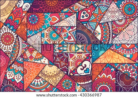patchwork pattern vintage decorative elements hand drawn background islam arabic indian - Pictures For Printing