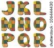 patchwork scrapbook alphabet part 2 - stock vector
