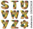 patchwork scrapbook alphabet part 3 - stock vector