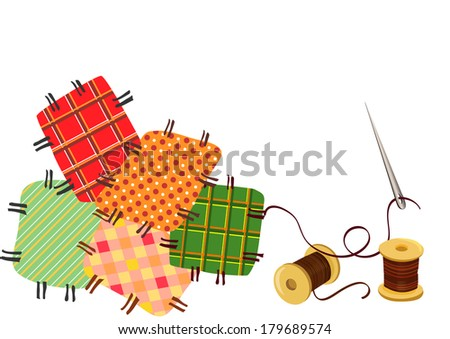 patchwork, sewing with a needle. vector illustration - stock vector