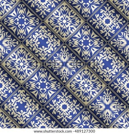 Patchwork vintage blue and silver pattern. Original style for your design