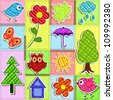 Patchwork with birds and birdhouses. Baby seamless background - stock vector