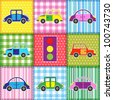 Patchwork with cartoon cars.Babies background - stock vector