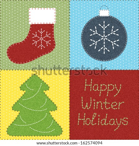 Patchwork with Christmas motifs. Can be used as seamless pattern - stock vector