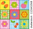 Patchwork with flowers, cherry, apple and strawberry - stock vector