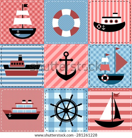 Patchwork with sea transport - stock vector