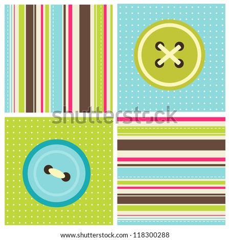 patchwork with sewing buttons - stock vector