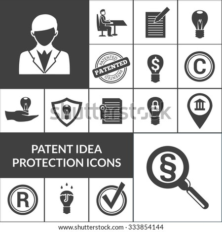 Patent idea protection and intellectual property icons black isolated vector illustration - stock vector