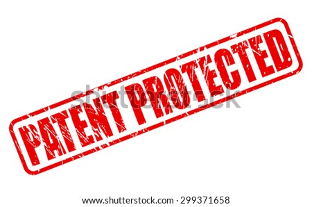 PATENT PROTECTED red rubber stamp text on white - stock vector