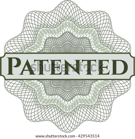 Patented inside a money style rosette - stock vector