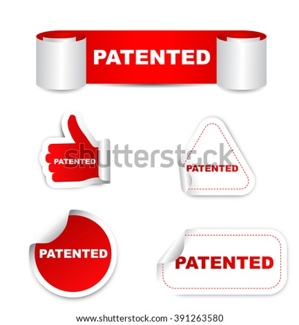 patented, sticker patented, red sticker patented, red vector sticker patented, set stickers patented, patented eps10, design patented, sign patented, banner patented - stock vector