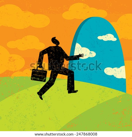 Path to New Opportunities A businessman heading on a path to new opportunities.  - stock vector