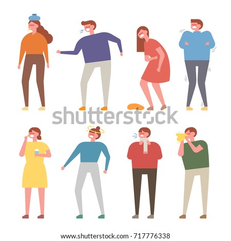 Patient characters with various symptoms vector illustration flat design