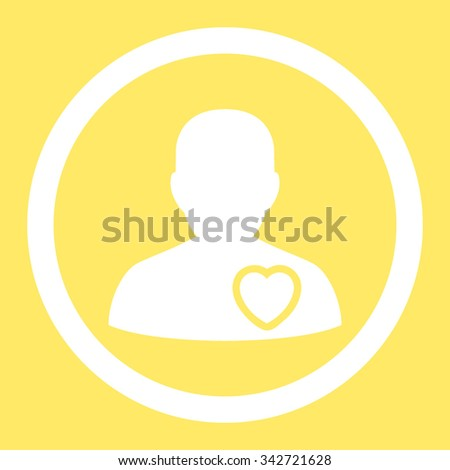 Patient Heart vector icon. Style is flat rounded symbol, white color, rounded angles, yellow background. - stock vector