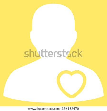 Patient Heart vector icon. Style is flat symbol, white color, rounded angles, yellow background. - stock vector