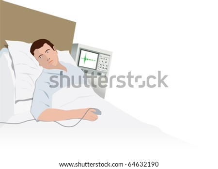 Patient in hospital bed being monitored - stock vector