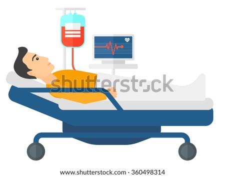 Patient lying in bed. - stock vector