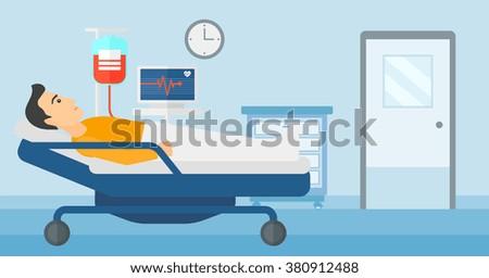 Patient lying in hospital bed. - stock vector