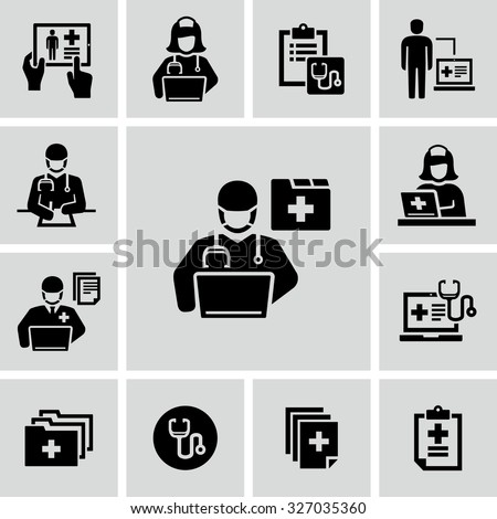 Patient medical record vector icons  - stock vector
