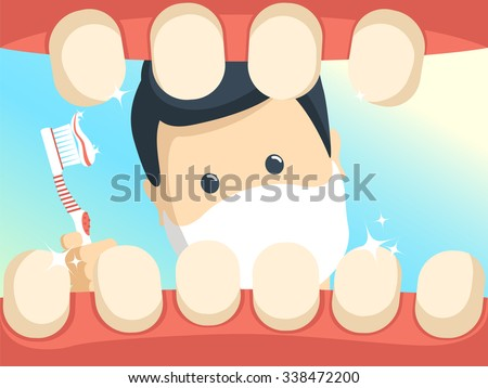 Patient with open throat in dentist office. Dentist doctor and patient tooth vector. Dental care, tooth care illustration, doctor office, tooth oral health. Dental clinic illustration vector. - stock vector