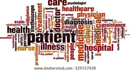 Patient word cloud concept. Vector illustration - stock vector