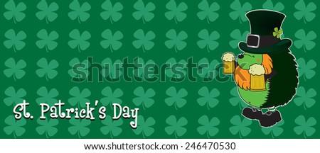 Patrick The Hedgehog.funny looking hedgehog.St. Patrick's day illustration horizontal orientation - stock vector