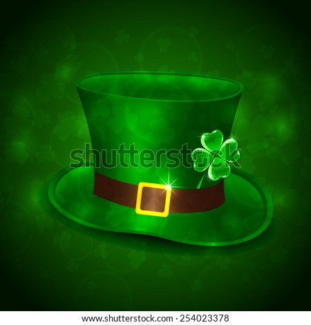 Patricks Day background with green leprechauns hat and clover, illustration  - stock vector