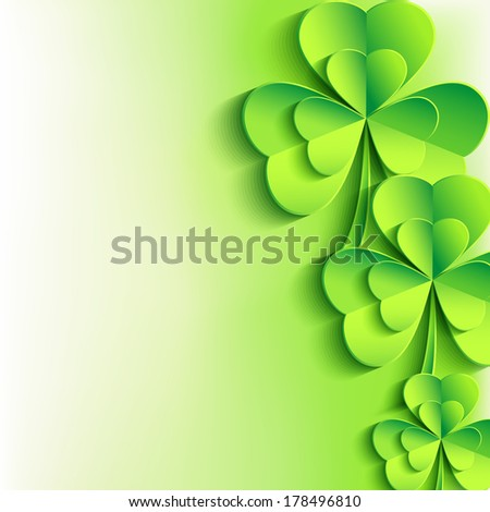 Patricks day background with stylish green 3d leaf clover. Abstract stylish St. Patrick's day card. Trendy floral background. Vector illustration  - stock vector