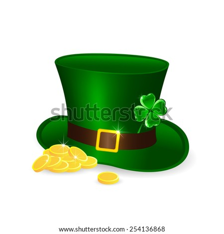 Patricks Day theme, green leprechauns hat and golden coins, illustration  - stock vector